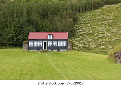 Traditional Icelandic House with grass roof in Skogar Folk Museum, Iceland