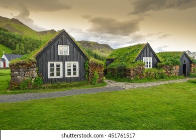 Traditional Icelandic houses with grass roof,  Iceland