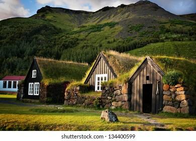 Traditional Icelandic Turf Houses near Sk�³gar