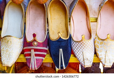 traditional Indian colorful shoes .Indian traditional slippers .
