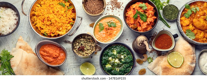 Traditional indian cuisine.  Top view. Panorama, banner