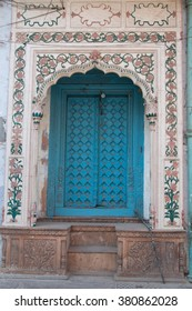 Traditional Indian door in Chandni Chowk, Old Delhi, India