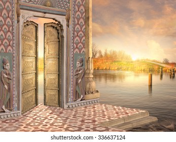 Traditional indian door on the Ganges in the sunrise.