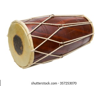 Traditional Indian drum isolated on white background.