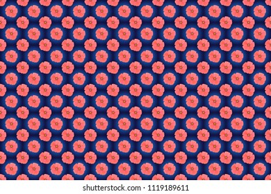 Traditional Indian floral seamless pattern with motley cosmos flowers in blue, violet and pink colors. Raster illustration.