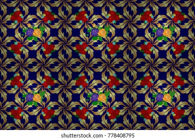 Traditional Indian floral seamless pattern with motley rose flowers and green leaves in neutral, blue and yellow colors. Raster illustration.