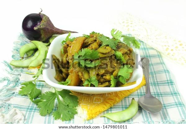Traditional Indian Gujarati Dish Food Undhiyu Stock Photo