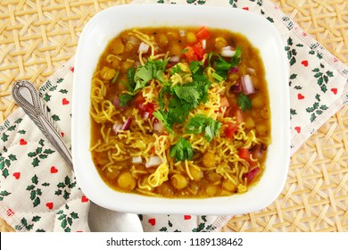 traditional indian gujarati food bhel snack or chaat sev usal or misal made from dried green peas besan vermicelli and spices