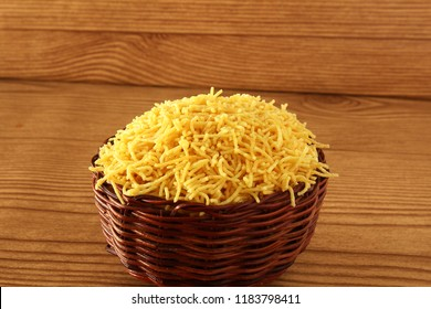 traditional indian gujrati tea time snack food namkeen sev or vermicelli fry noodles of chickpea flour or besan