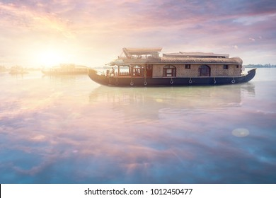 Traditional Indian house boat . State Kerala