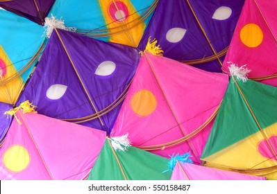 Traditional Indian kites for sale to fly during Pongal or Sankranti Hindu festival,a Harvest Festival,during winter