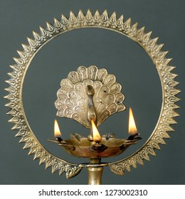 Traditional Indian lamp for worship