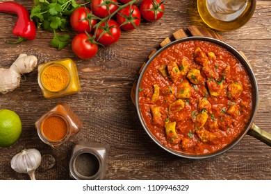 Traditional Indian and Pakistani cuisine. Tikka masala. Top view.