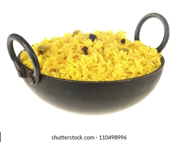 Traditional Indian Pilau Rice Meal Isolated On White No People