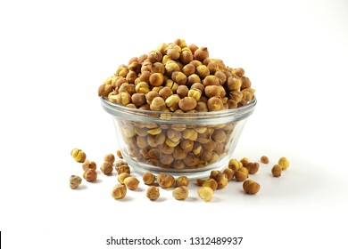 traditional indian roadside street snack food roasted chickpea nut or gram chana isolated on white background