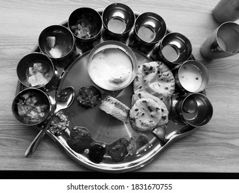 Traditional Indian thali, with lots of spicy and tasty foods