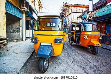 Traditional indian transportation - motor rikshaw on the streetsd of Fort Kochin, Kerala, India