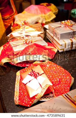 traditional indian wedding engagement gifts red stock photo edit
