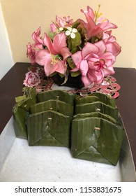 Traditional Indonesia banana leaf snack dish