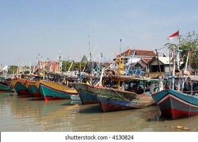 Traditional Indonesian boats in a poor village near Surabaya (Java)