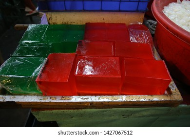 traditional indonesian culinary food. Jajanan  Agar-agar or Agar agar jelly.