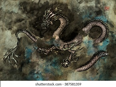 Traditional ink painting of a fierce Chinese dragon