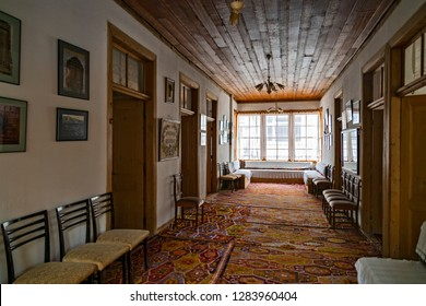 Traditional interior decoration of the spacious hall of the Elmali mansions.  Elmali is a town and district in Antalya province, the Mediterranean region of Turkey. July 2018