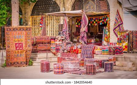Traditional iranian carpets shop in Vakil Bazaar, Shiraz, Iran.