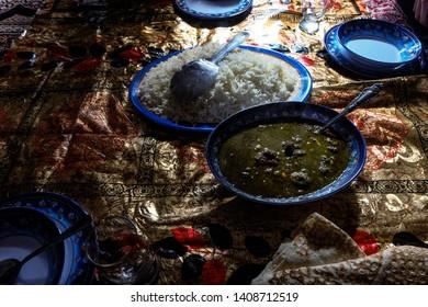 Traditional Iranian food Ghormeh sabzi