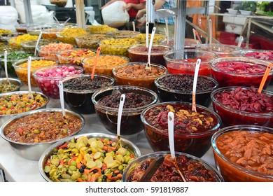 Traditional iranian food. Souk in Darband, near Imamzadeh Saleh Mosque. North Tehran. Iran