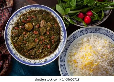 Traditional Iranian Ghormeh Sabzi food
