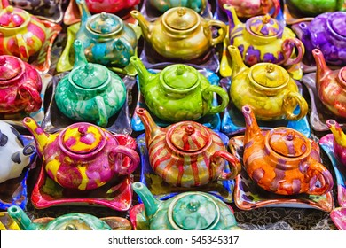 Traditional iranian kettles and Isfahan, Iran, Middle East, Asia. There are commonly sold in tourist places like Shiraz, Teheran, Esfahan, Yazd