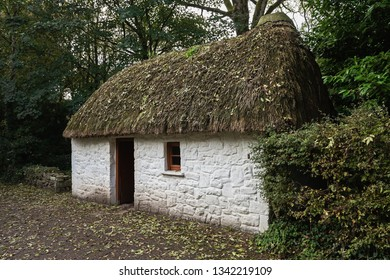 Traditional Irish cabin from the countryside in the open-air museum