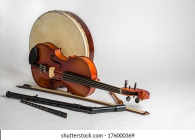 Traditional Irish Musical instruments on a white background
