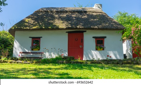 A traditional Irish thatched cottage, in Co. Leitrim.