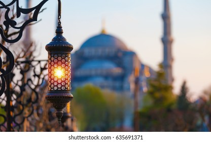 Traditional islamic ramadan lantern at square near Blue Mosque in Istanbul, Turkey