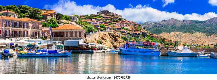 Traditional islands of Greece - beautiful Lesvos. popular Molyvos town, view of small port with taverns