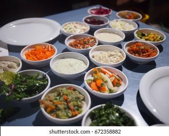 Traditional Israeli mezze platter served in Jaffa, the Arabian district of Tel Aviv