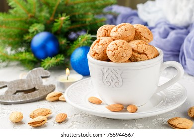 Traditional italian almond cookies - amaretti. Sweet holiday dessert. Christmas. New year. Selective focus