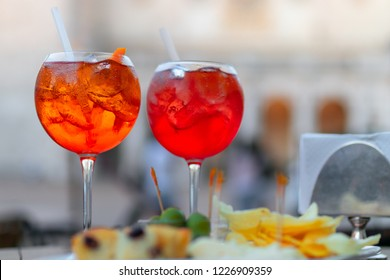Traditional italian aperitif with appetizers