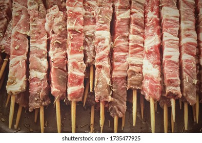 Traditional italian arrosticini - skewers of lamb background
