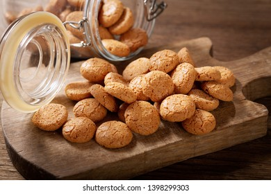 traditional italian biscotti cookies on wooden board