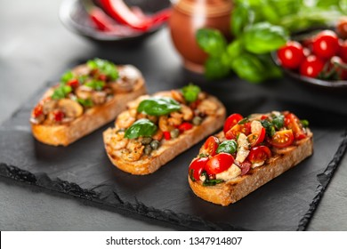 Traditional Italian bruschettas