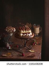 Traditional Italian cake tiramisu cacao powder fall season