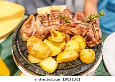 Traditional italian dish florentine steak in restaurant