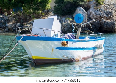 traditional italian fishing boat called lampara in a sunny day