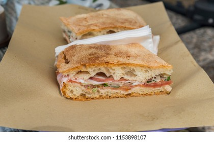 traditional Italian focaccia stuffing with cheese ham herbs and tomato