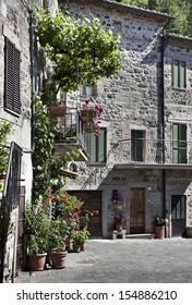 Traditional Italian house in small village. Radicofani, Tuscany, Italy