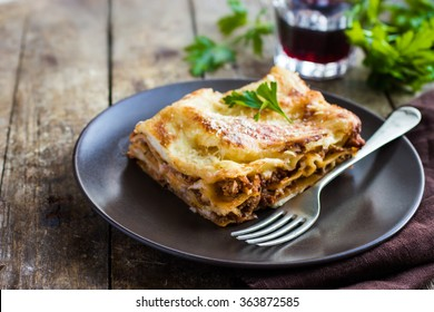 traditional italian lasagna  with minced beef bolognese sauce, selective focus