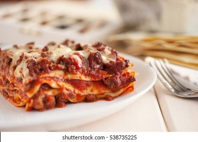 traditional italian lasagna with minced beef bolognese sauce.